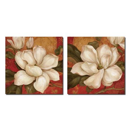 Magnolia On Red I Beautiful, Vintage White Magnolias; Floral Decor; Two 12X12 Poster Prints