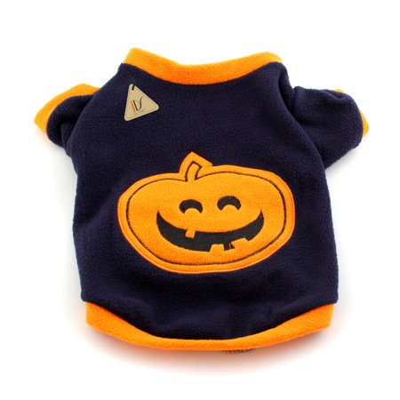 Small Dog Cat Halloween Pumpkin Costume with Fleece Warm Cltoth for Pet Fancy Dress - Cats With Costumes