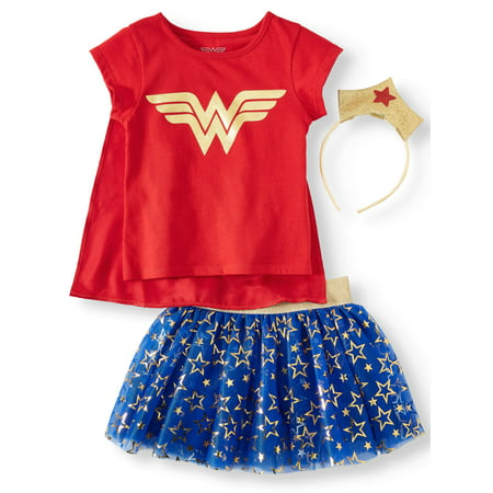 Wonder Woman T-Shirt, Tutu Skirt, & Headband, 3pc Outfit Set (Toddler Girls)