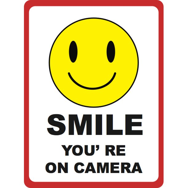 Smile Youre on Camera Sign - Under Surveillance Signs - Aluminum Metal -  Walmart.com - Walmart.com