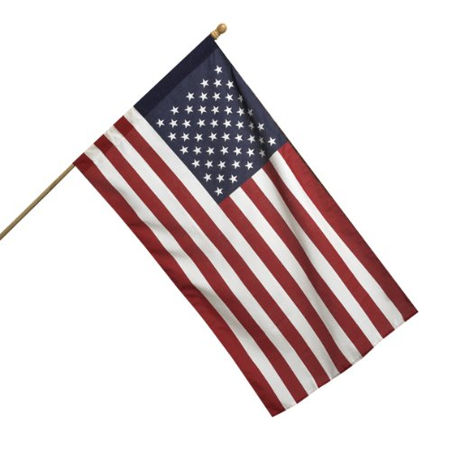 All American Series 2.5 x 4 Foot Polycotton US American Flag Kit with 5-Foot...
