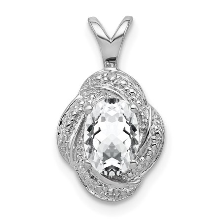 925 Sterling Silver Diamond White Topaz Pendant Charm Necklace Birthstone April Fine Jewelry For Women Gifts For Her - image 1 of 6