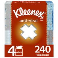 Kleenex Anti-Viral Facial Tissues, 4 Cube Boxes (240 Total Tissues)