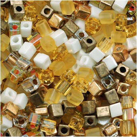 - Miyuki 4mm Glass Cube Beads Color Mix Honey Butter 10 Grams