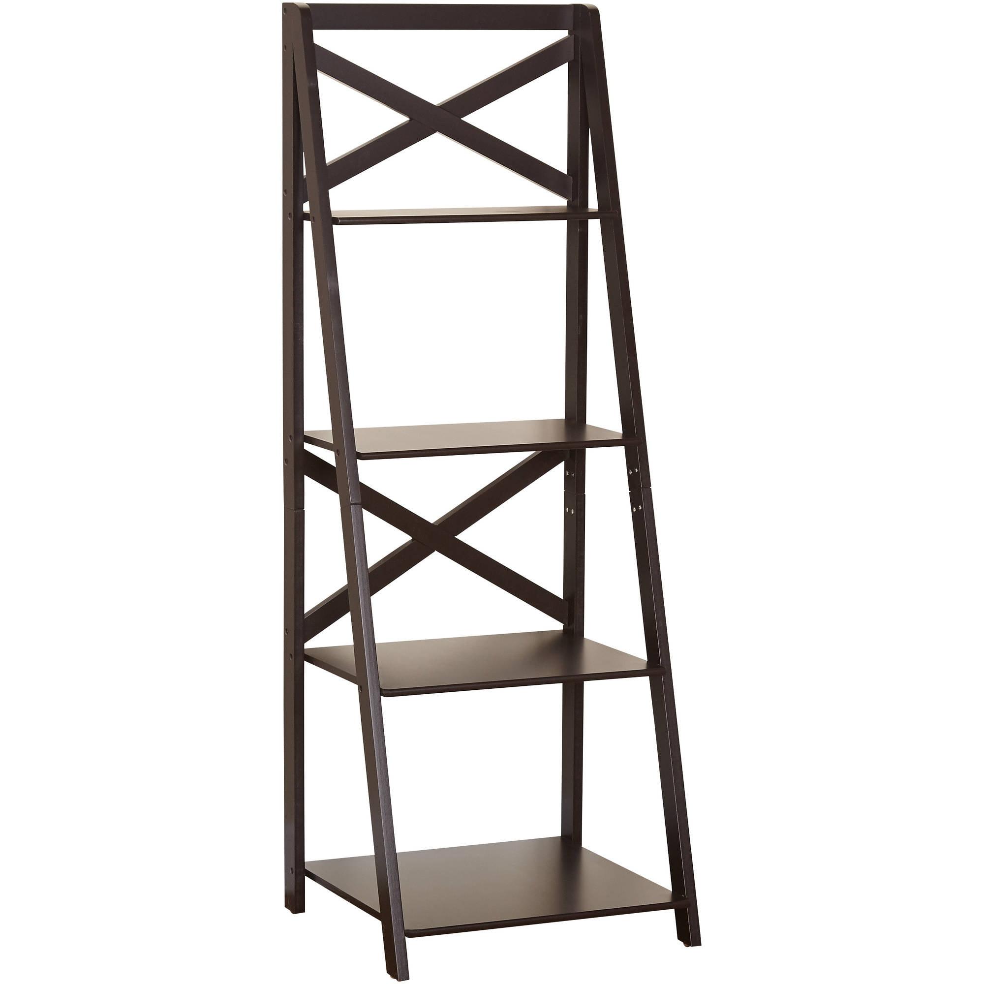 Details About Bookshelf Wood Storage Display Shelf Wall Ladder Bookcase Furniture 4 Tire Wide