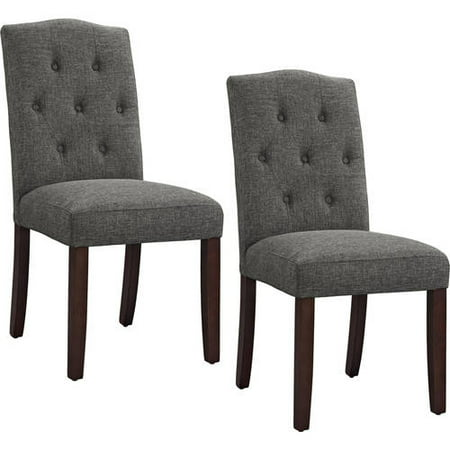 Better Homes and Gardens Parsons Tufted Dining Chair, Grey, Set of 2