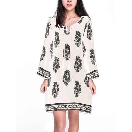 Women Dresses Clearance 3/4 Sleeve Floral Print Lace Up Tassel Loose