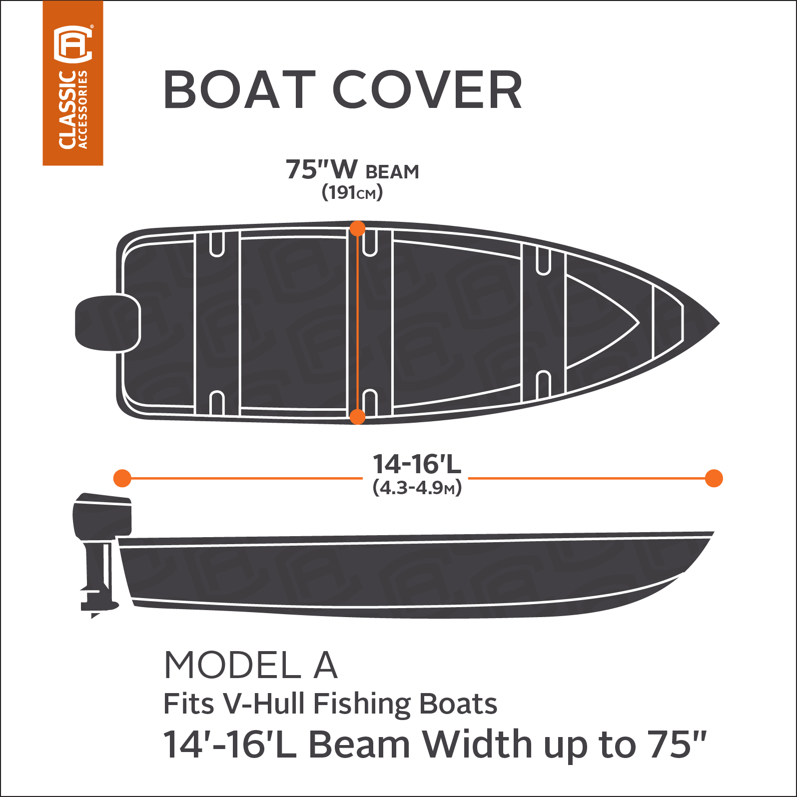 """STORMPRO TRAILERABLE FISHING BOAT STORAGE COVER 12/' 13/' 14/' to 68/"""" beam V-Hull"""