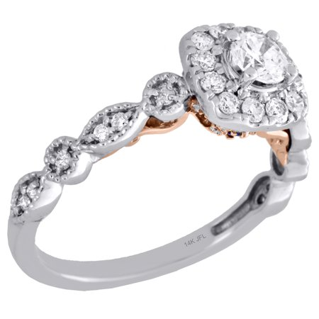 14K Two Tone Gold Round Solitaire Diamond Halo Designer Engagement Ring 0.75 Ct. Gold Tone Solitaire