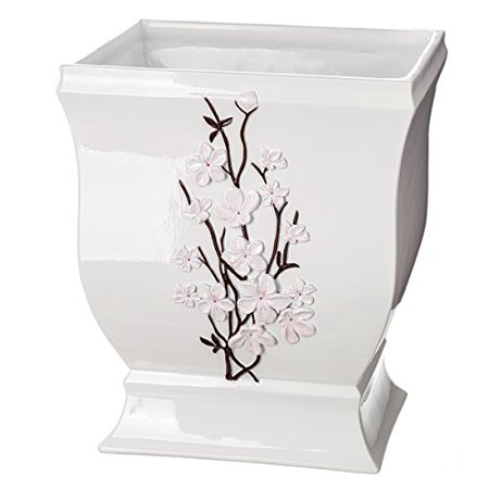 Creative Scents Vanda Bathroom Trash Can  Decorative Wastebasket  Resin Waste Paper Baskets  Cool Fashion Design  Space Friendly Bath Rubbish Dust Bin  White