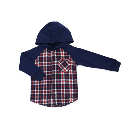 Long Sleeve Hooded Plaid Shirt (Baby Boys and Toddler Boys) (Long Arm Patterns)