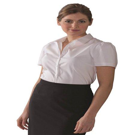 Edwards Garment Women's Rounded Collar Short Sleeve Blouse, Style 5046 - Edwards Short Sleeve Blouse