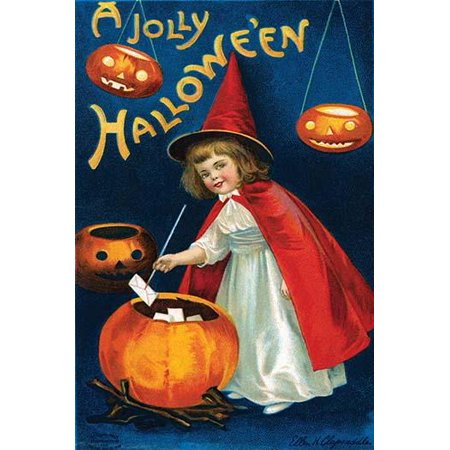 A Halloween postcard with a little witch pulling small envelopes out of a pumpkin surrounded by lit jack of lanterns Poster Print by Ellen M Clapnoddle - Ellen Clapsaddle Halloween Postcards