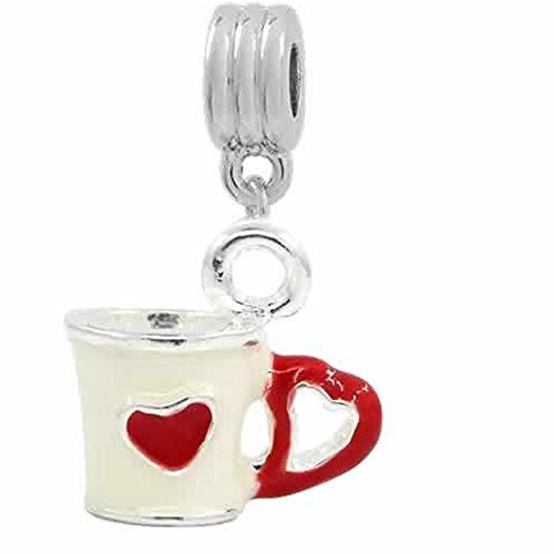 3d Coffee Cup with Hearts European Bead Compatible for Most European Snake Chain Bracelet