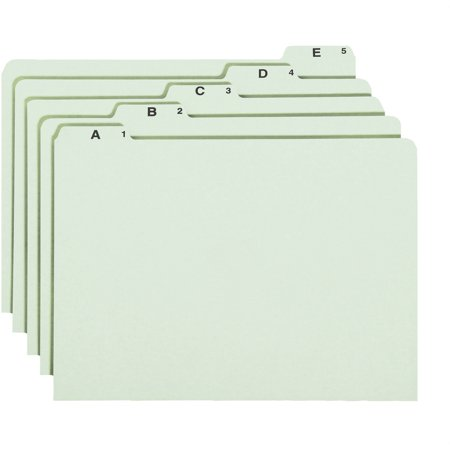 Smead, SMD52376, A-Z Green Pressboard Self Tab File Guides, 25 / Set, Green
