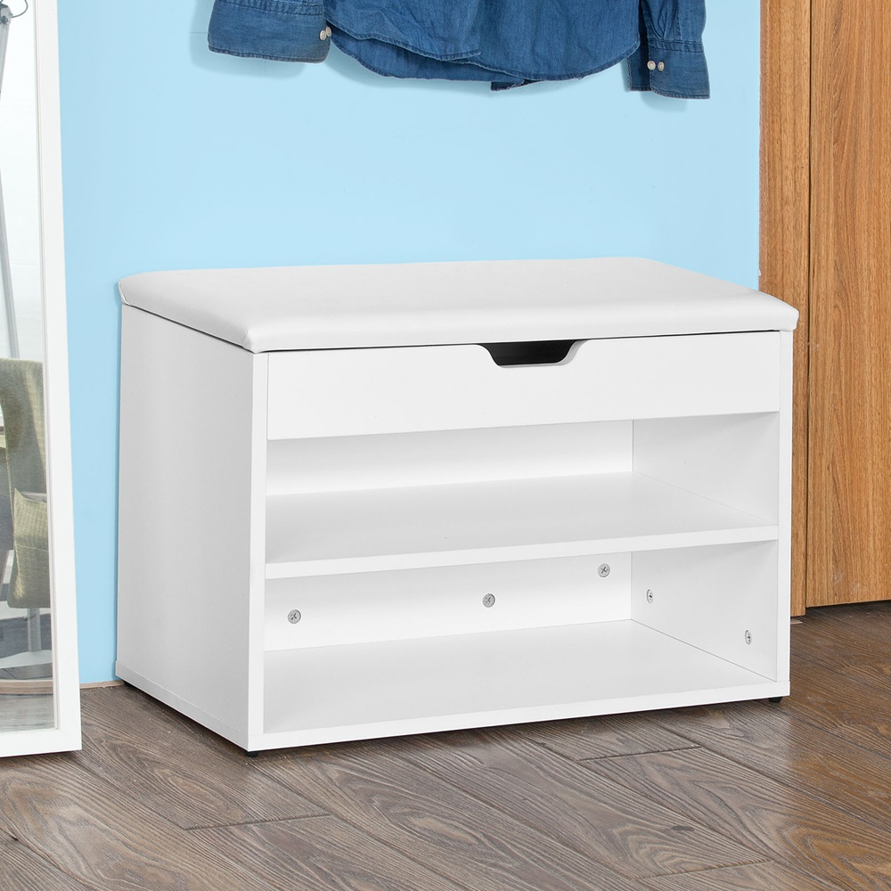 SoBuy FSR25 W, Wooden Shoe Cabinet, 2 Tiers Shoe Storage Bench Shoe Rack  With Folding Padded Seat, 60x30x44cm, White   Walmart.com