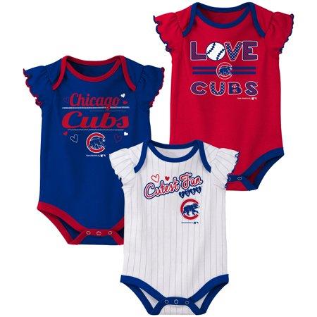 Chicago Cubs Infant Onesie - Girls Newborn & Infant Royal/Red/White Chicago Cubs 3-Pack Bodysuit Set