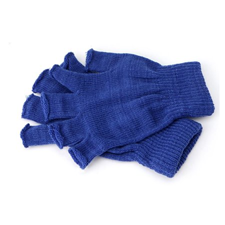 Blue Fingerless Gloves Winter Half Finger Stretch Thing Elastic Phone Fingertips