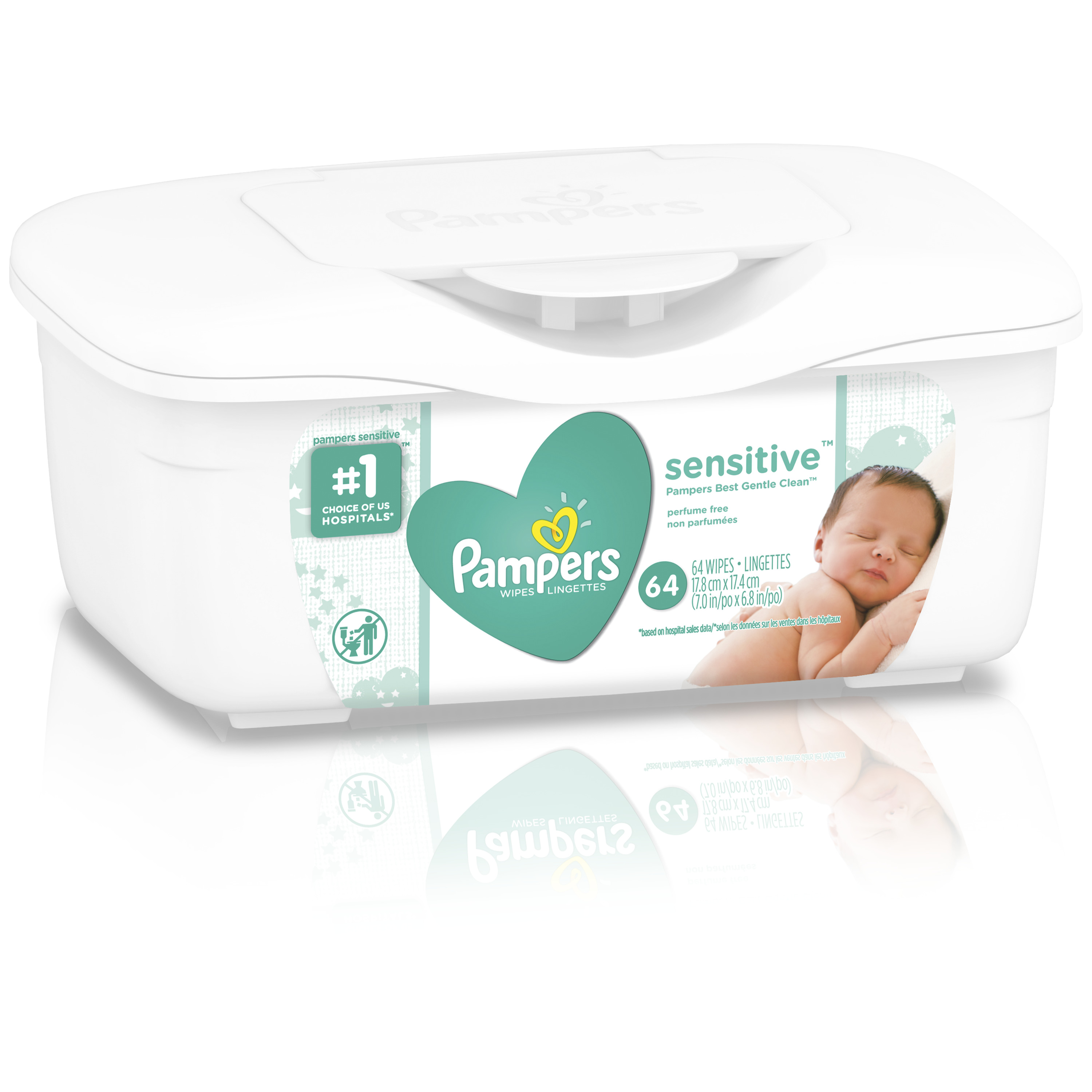 Pampers Baby Wipes, Sensitive, Tub, 64 Count