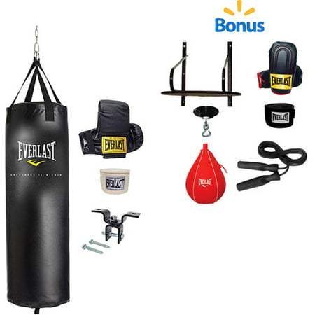 Everlast 70-lb. Heavy Bag Kit and 6-Piece Speed Bag Kit Value Bundle (Hitting Speed Bag)