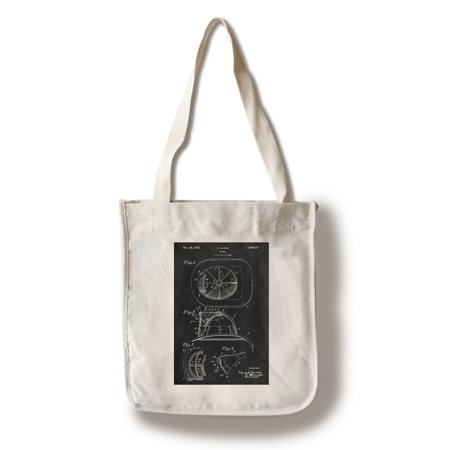 Cotton Helmet (Blackboard Patent - Fire Helmet - Lantern Press Artwork (100% Cotton Tote Bag -)