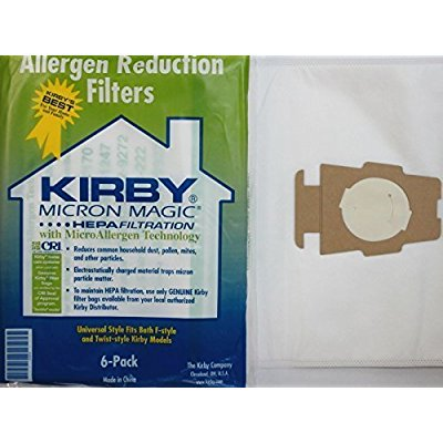 Kirby Part#204808 - Genuine Kirby Style F HEPA Filtration Vacuum Bags for ALL Sentria Models (6 Bags & 1 (Sentra Models)