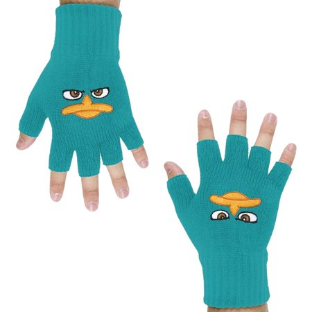 Phineas & Ferb - Perry Face Fingerless Gloves, Cotton Blend By Old Glory From - Perrys Blend