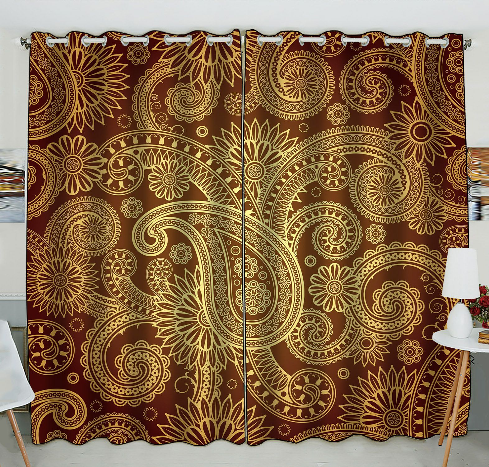 ZKGK Damask Pattern Window Curtain Drapery/Panels/Treatment For Living Room Bedroom Kids Rooms 52x84 inches Two Panel