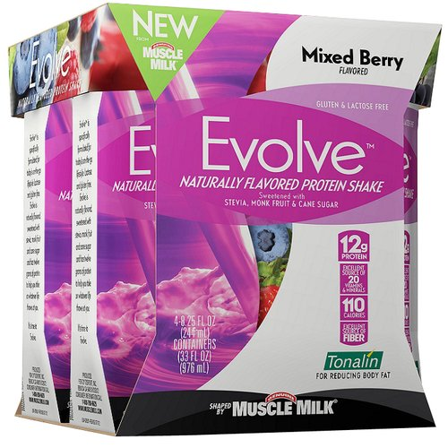 Evolve Naturally Flavored Mixed Berry Protein Shakes, 8.25 fl oz, 4 count