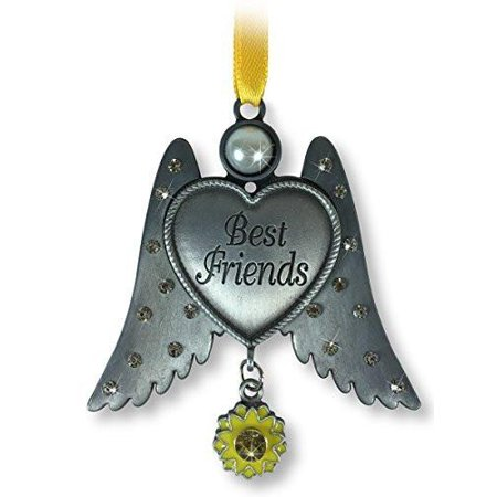 Pewter Heart Ornament (Best Friends Ornament - Pewter Finish Angel Wings with Heart Ornament - Jeweled Wings with a Sunflower Charm - Friendship)