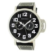 Roberto Bianci Men's Sports Day and Date Watch with Black Dial and Leather Band