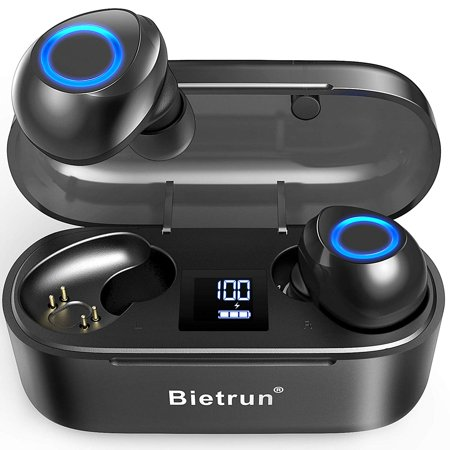 Bluetooth Wireless Earbuds Headphones,Noise Cancelling with Qualcomm 5.0 Auto Pairing,True Wireless Earbuds with 30H Playtime,No Delay Stereo Sound,IPX7 Waterproof and Built-in Mic