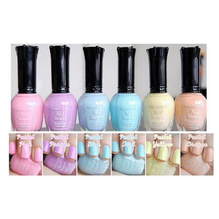 - Kleancolor Nail Polish PASTEL Colors Lot of 6 Lacquer Collection NEW Full 718