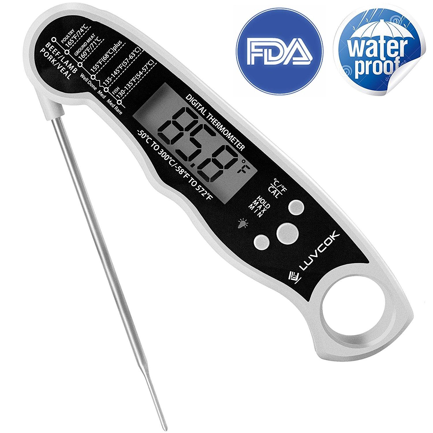 Food Thermometer, Digital Cooking Thermometer, Instant Re...
