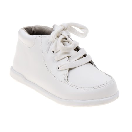 Smart Step Boys White Lace Up Closure Wide Width Walking