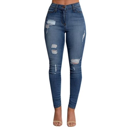 Blue Washed Ripped Jeans for Women Skinny Pencil Pants