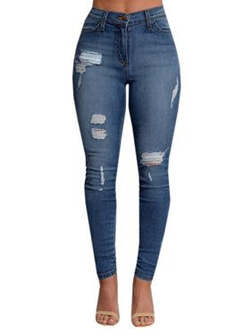 7ffd35af3 Product Image Blue Washed Ripped Jeans for Women Skinny Pencil Pants