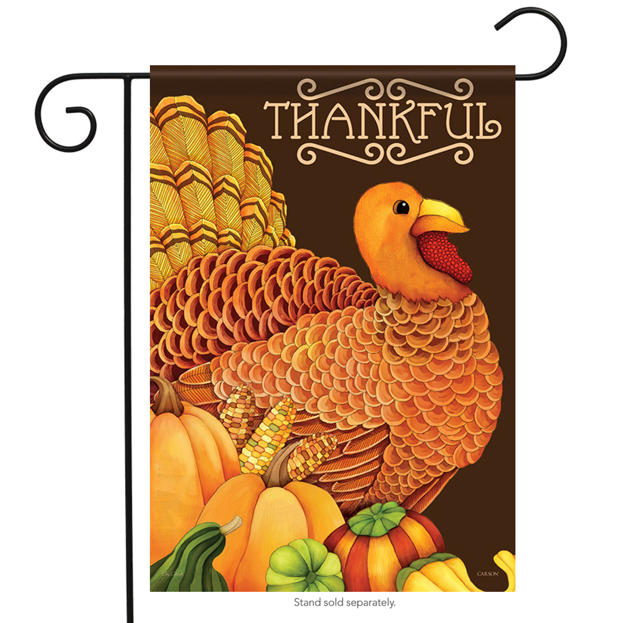 "Thankful Turkey Holiday Garden Flag Decorative Thanksgiving Fall Banner  13""x18"""