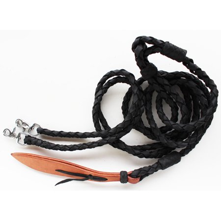 - Horse Western Black Oiled Leather Hand Braided Rommel Reins Popper 6659VR