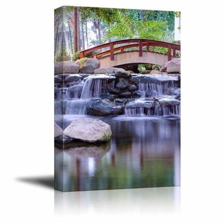 Canvas Prints Wall Art - Mini Waterfall in the Gaden | Modern Wall Decor/Home Decor Stretched Gallery Wraps Giclee Print & Wood Framed. Ready to Hang - 18