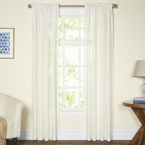 Beautyrest Carrington Solid Sheer Rod Pocket Single Curtain Panel