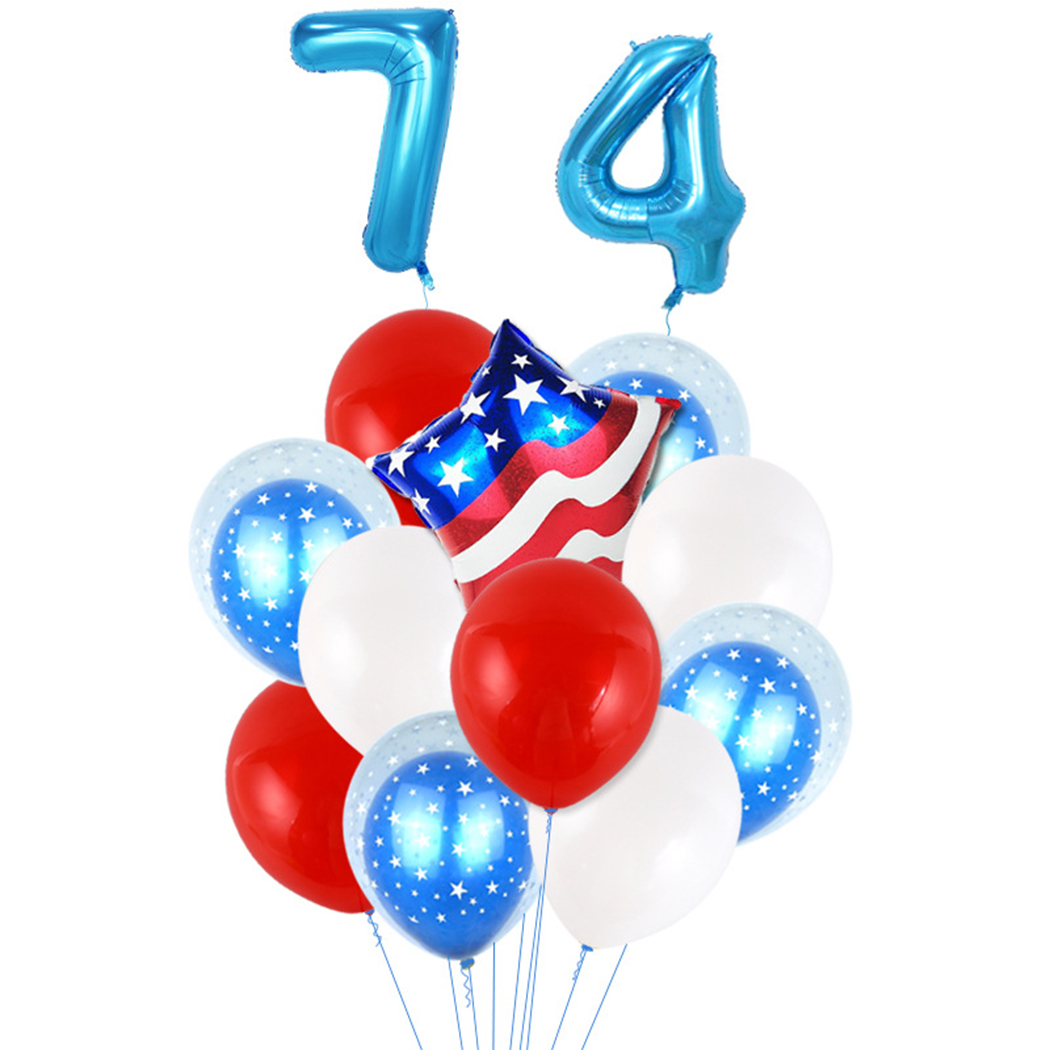 13PCS Party Balloons,Coxeer Patriotic Balloon Independence Day Party Latex Balloons Festival Decor Balloons Party Balloons with Hanging Rope