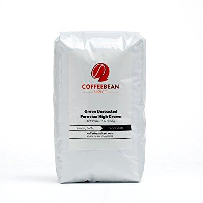 green unroasted peruvian high grown, whole bean coffee, 5...