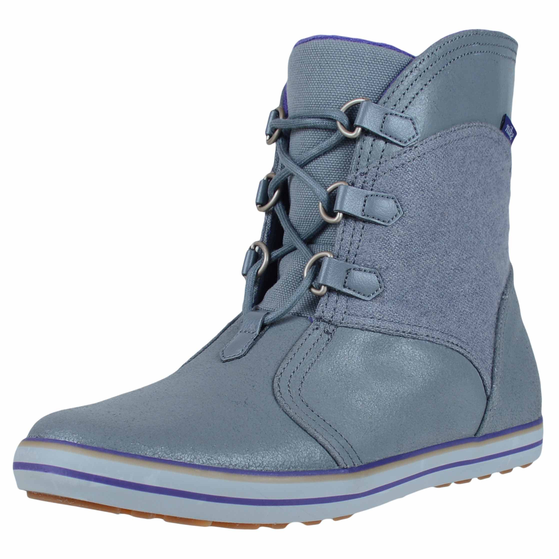 Nike WOMENS CARICO MID LEATHER BOOTS COOL GREY COURT PURP...