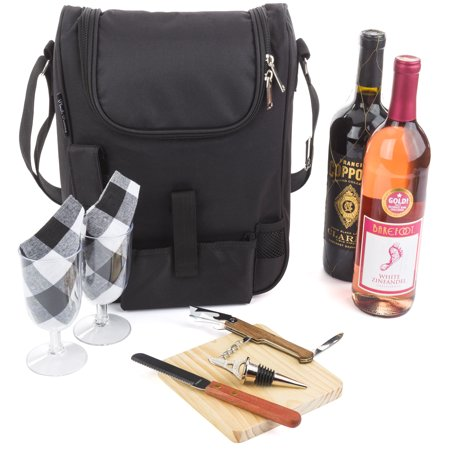 Wine Carrier Tote (Insulated Travel Wine Tote Bag: Portable 2 Bottle Wine and Cheese Black Carrier Bag Set with Picnic Backpack Kit)