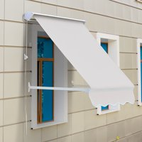 4ft Drop Arm Manual Retractable Window Awning - Cream