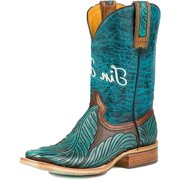 Tin Haul Western Boots Womens Feathers Brown 14-021-0007-1211 BR