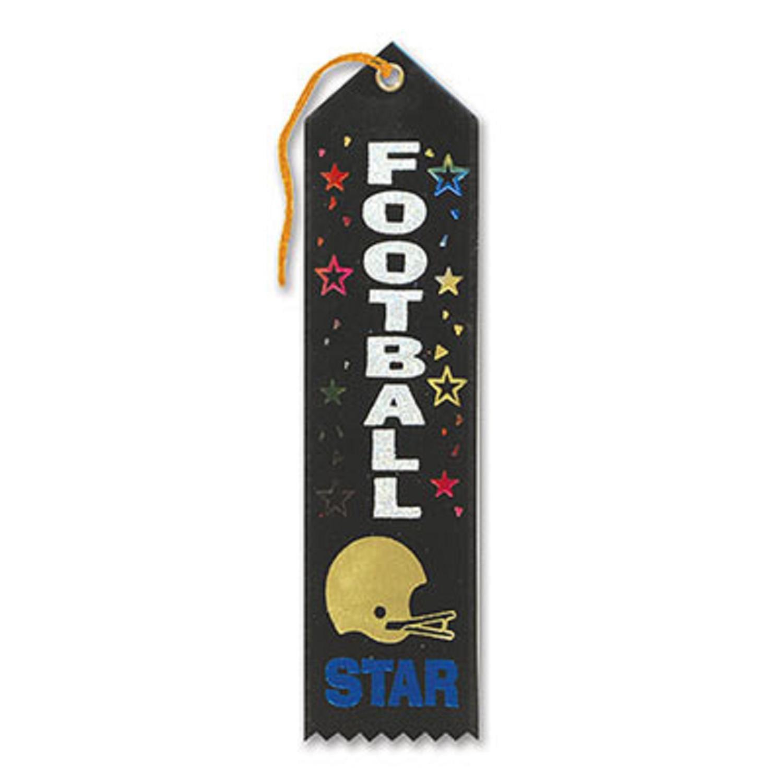 "Pack of 6 Dark Green ""Football Star Award"" School Award Ribbon Bookmarks 8"""