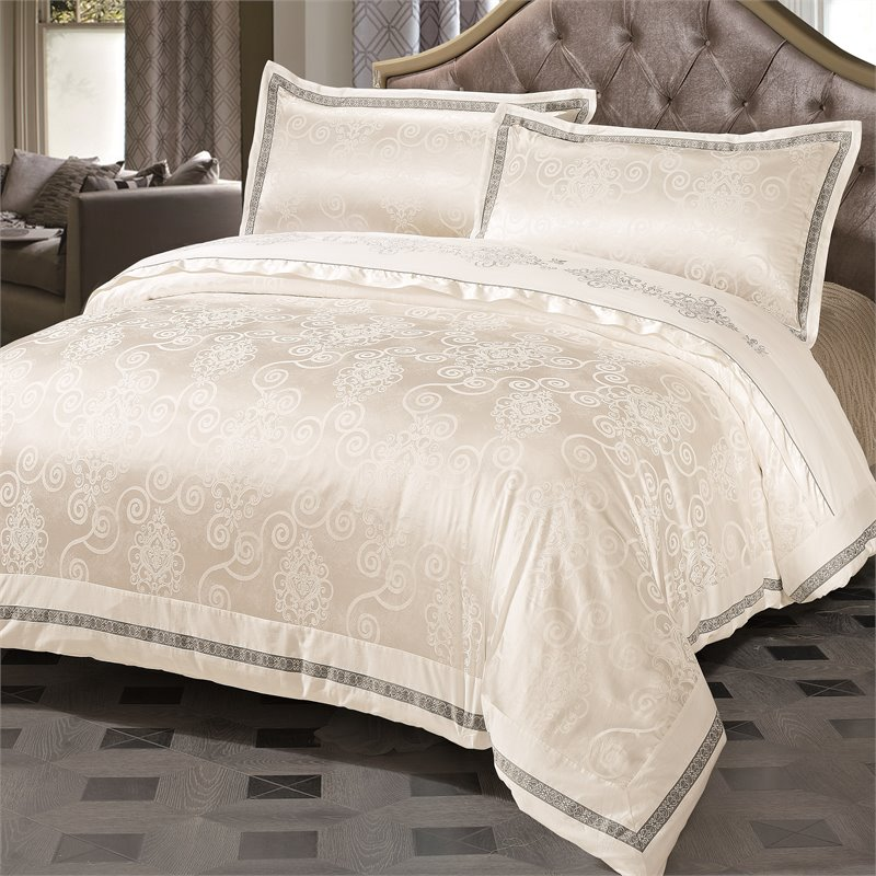 Versailles Bianca 3 Piece King Duvet Cover Set in White