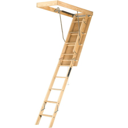 Louisville Ladder S224P 7 ft. - 8 ft. 9 in. Wood Attic Ladder, Type I, 250 lbs Load Capacity